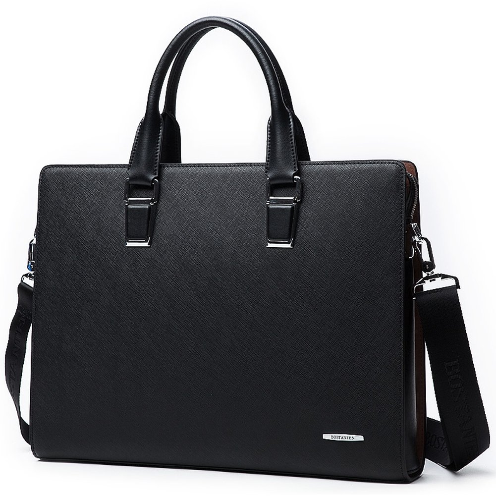 BOSTANTEN Leather Briefcase Office Laptop Business Lawyers Bags for Men & Women Black