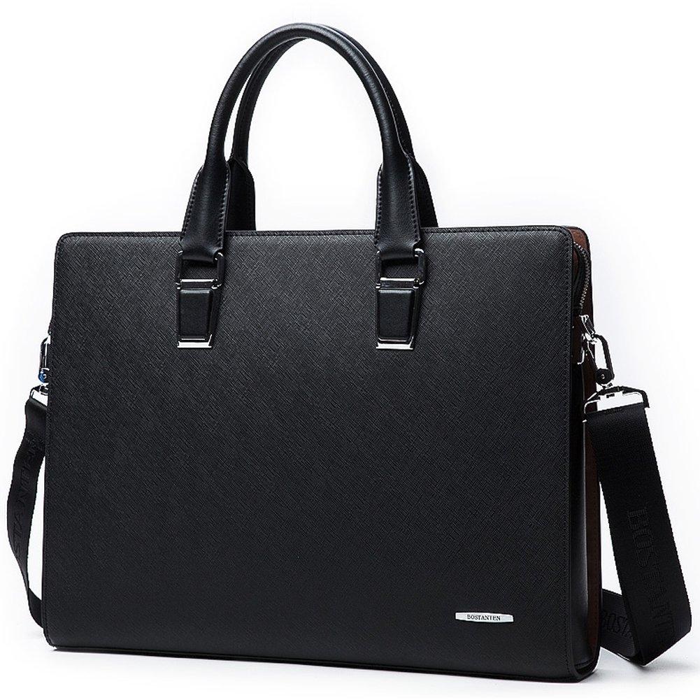 BOSTANTEN Formal Leather Briefcase Shoulder Laptop Business Bag for Men Black