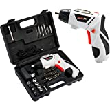 GOCHANGE Electric Screwdriver, 4.8V Portable Cordless Screwdriver, 1300 mAh NiCd Battery, with 45 Pcs Screws and Screwdriver