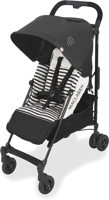 Maclaren Quest arc Silla de paseo - ligero, manillar unido, para recién nacidos hasta los 25kg, Asiento multiposición, suspensión en las 4 ruedas, Negro/Blanco Raya