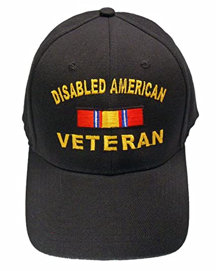 fdf5cd57e47 DAV Cap Disabled American Veteran Baseball Cap Black Hat Army Navy Marines  at Amazon Men s Clothing store