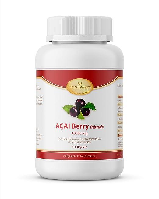 VITACONCEPT ACAI Berry - 120 cápsulas de baya de acai - Mejor el bienestar, pérdida