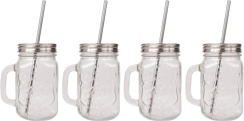 CUPVANNA | MASON JAR MUGS with Stainless Steel Lids and Straws and Straw Cleaning Brush | 16oz Mason Jar Glasses with Handle and Stainless Steel Lids & Straws with Cleaning Brush (16 oz, 4 sets)