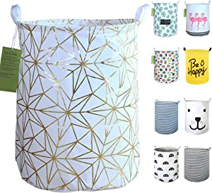 "SEAFOWL 19.7"" Collapsible Laundry Basket,Round Canvas Waterproof Large Storage Basket. (Golden Stars)"