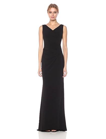 Calvin Klein Womens Sleeveless Long Evening Dress With Ruching