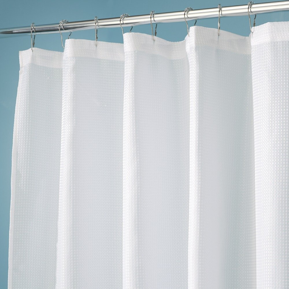 Hookless fabric shower curtain with built in liner taupe diamond pique - Amazon Com Interdesign 96 Inch Carlton Spa Long Shower Curtain White Home Kitchen