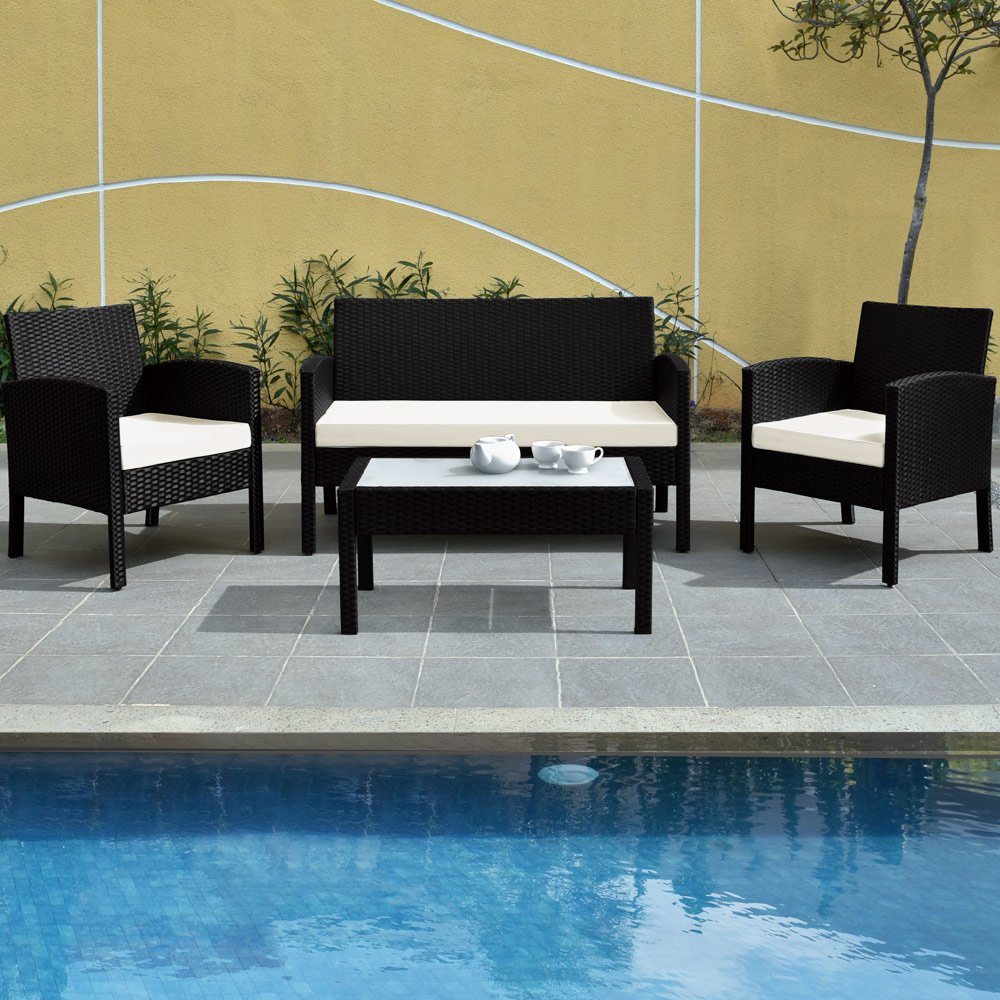 rattan gartenm bel set terrasse wintergarten rattan tisch sofa st hle outdoor schwarz g nstig. Black Bedroom Furniture Sets. Home Design Ideas