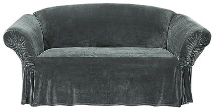 Wondrous Surefit Stretch Plush Cinched Arm Onepiece Slipcover Gray Loveseat Pabps2019 Chair Design Images Pabps2019Com