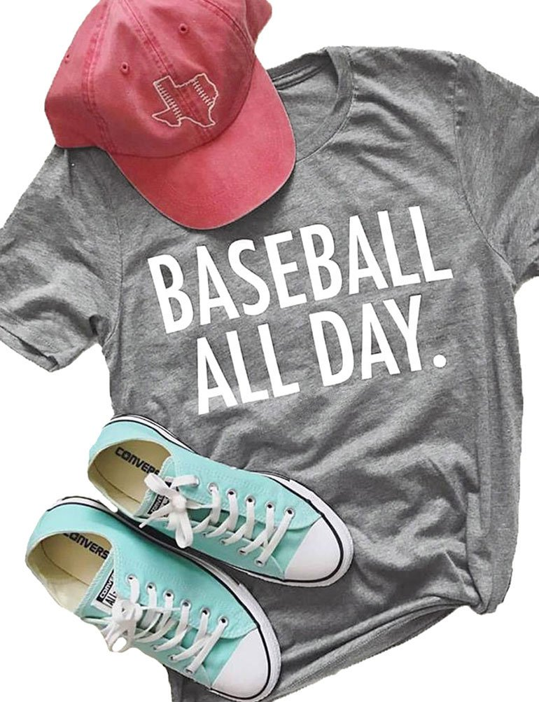 ZJP Women Casual Short Sleeve Baseball All Day Letter Print Shirt Tee Top Blouse