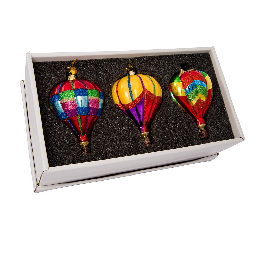Kurt Adler 3.5-Inch Noble Gems Glass Hot Air Balloon 3-Piece Ornament Set
