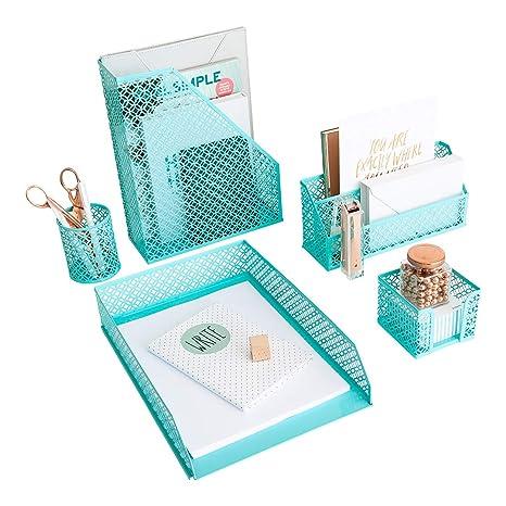 amazon com aqua teal 5 piece cute desk organizer set desk rh amazon com  cute office desk organizers