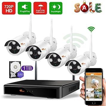 Camaras De Vigilancia Wifi,CORSEE Kit Sistema de Seguridad Inalámbrico 720P Con 1TB Disco Duro (Wifi cctv Sistema, NVR, 4 Cámaras, IP66 Impermeable): ...