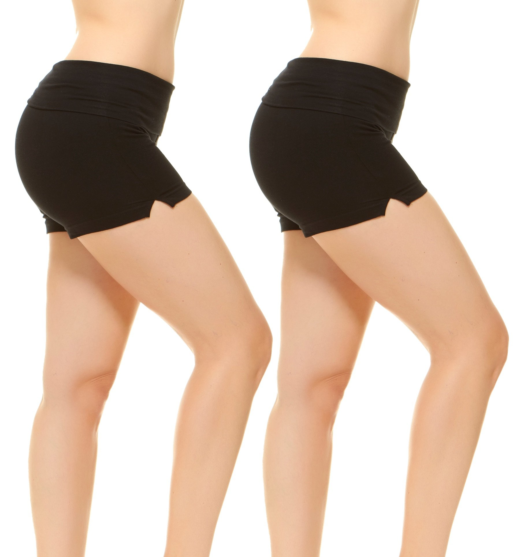 Fold-Over Waistband Stretchy Cotton-Blend Yoga Shorts Small 2Pack Black