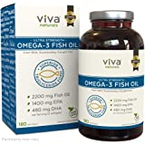 Viva Naturals Omega 3 Fish Oil Supplement, 180 Softgels 200Mg /Serving