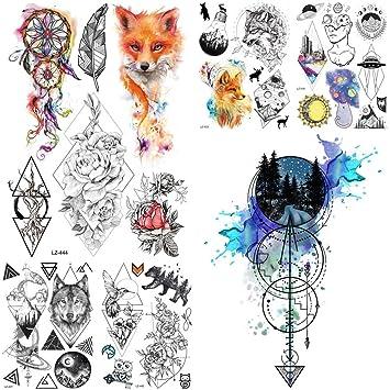 6f6e87858 Amazon.com : Black Diamond Geometry Owl Temporary Tattoo Sticker WOmen Fake  Henna Waterproof Tattoo Decals 2115CM Crystal Body Art ARm Tatoo : Beauty