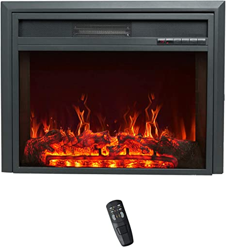 Flame Shade 32 Inch Wide Electric Fireplace Insert Portable Free Standing Heater With Remote Control Timer 1500 750w Kitchen Dining