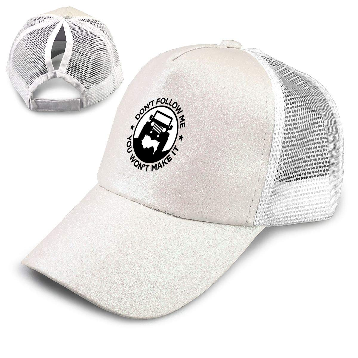 f07076bf Jeep Wrangler Car Sequined Ponytail Baseball Cap High Bun Glitter with Mesh  Trucker Hat Adjustable at Amazon Women's Clothing store: