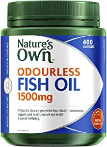 Nature's Own Odourless Fish Oil 1500mg - Source of Omega-3 - Maintains Wellbeing - Supports Healthy Heart and Brain, 400 Capsules