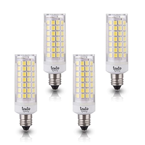 buy popular 5d204 33eff E11 T4 LED Bulbs 4 Pieces Ceiling Fan Light Bulbs Dimmable JDE11 120v 50w  T4 Mini Candelabra Light Bulbs 4 Watts 2700k Warm White