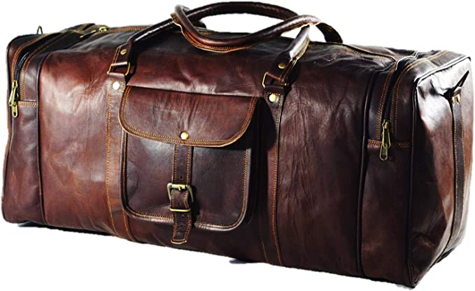 "genuine Leather luggage gym weekend overnight Duffle bag large vintage 24/"" inch"