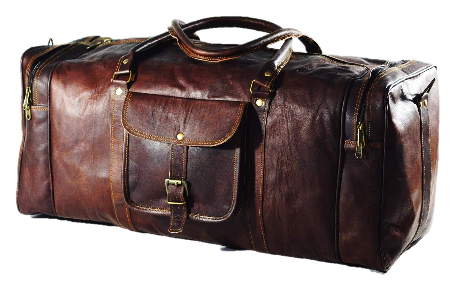 Urban Dezire 24 Inch Vintage Leather Duffel Travel Gym Sports Overnight Weekend Bag by URBAN DEZIRE