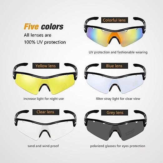 Gafas de sol Ciclismo Polarizadas de OMorc, Gafas Deportivas Polarizadas con 5 Lentes (1 lentes polarizada y 4 lentes común), 100% UV 400 Protection, ...