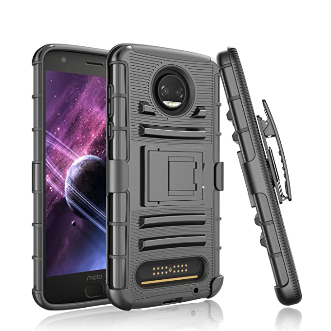 new product bfab4 7ca36 Moto Z2 Force Case , Moto Z2 Force Droid Case, Tinysaturn(TM) [Ystorm  Series] [Black] Shock Absorbing Belt Clip Kickstand Full Body Defender  Armor ...