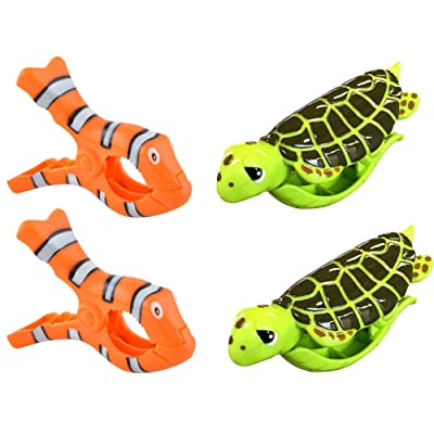 O2COOL Beach Towel Clips Set of 2 Boca Clips for Pool Chairs, Patio and Chaise - Super Cute and Fun Lounge Chair Clamps – For Cruise Ships, Vacations, Picnics and Home (2 Pack) (Sea Turtle/Clown Fish) : Industrial & Scientifi