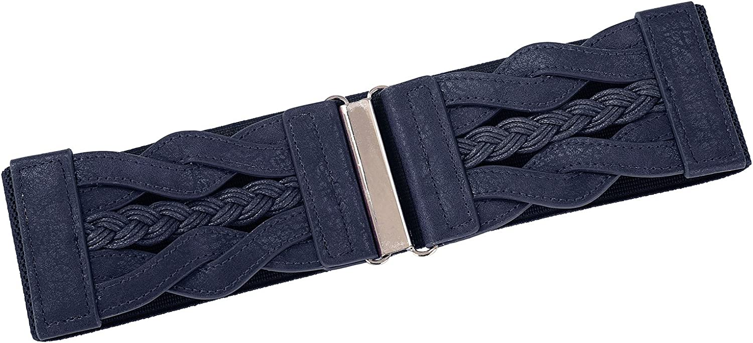 Womens Fashion Elastic Wide Belt with Metal Buckle Hook Size 2XL Navy