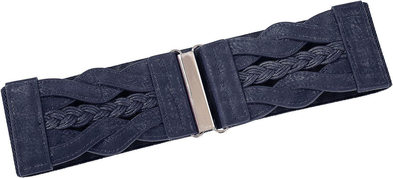 GRACE KARIN Stretchgürtel Breiter Gürtel Leder gürtel Damen Fashion Elastischer Gürtel CL467 Cl467-5(marineblau)