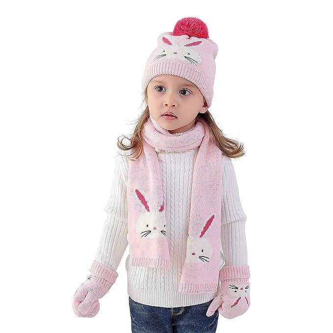 Bebè Bambine Guanti Sciarpa cappello lavorato a maglia 3 pezzi Set  invernali bimba ragazze 6 mesi a 8 anni Doppio strato all uncinetto cappello  Beanie ... 7790ff53e1f3