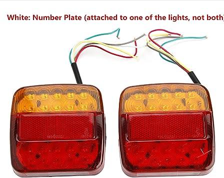 2x 8LED LKW Anhänger Rücklicht Blinker Bremslicht Heckleuchten Rückleuchten Rot