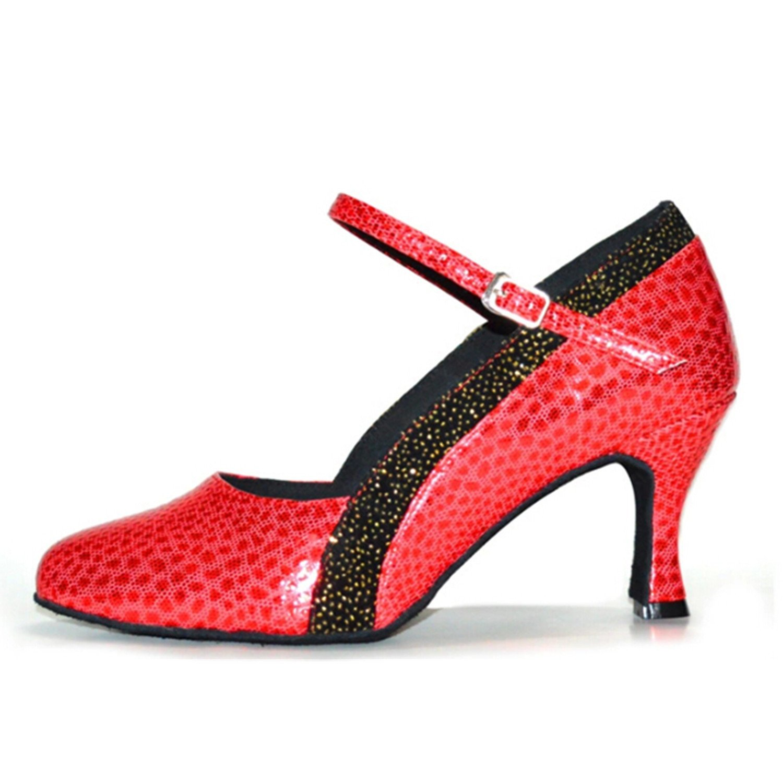 BYLE Leder Sandalen Riemchen Samba Modern Jazz Tanzen Schuhe Sommer Nach Latin Tanzen Schuh Riemchen Schuhe Rot