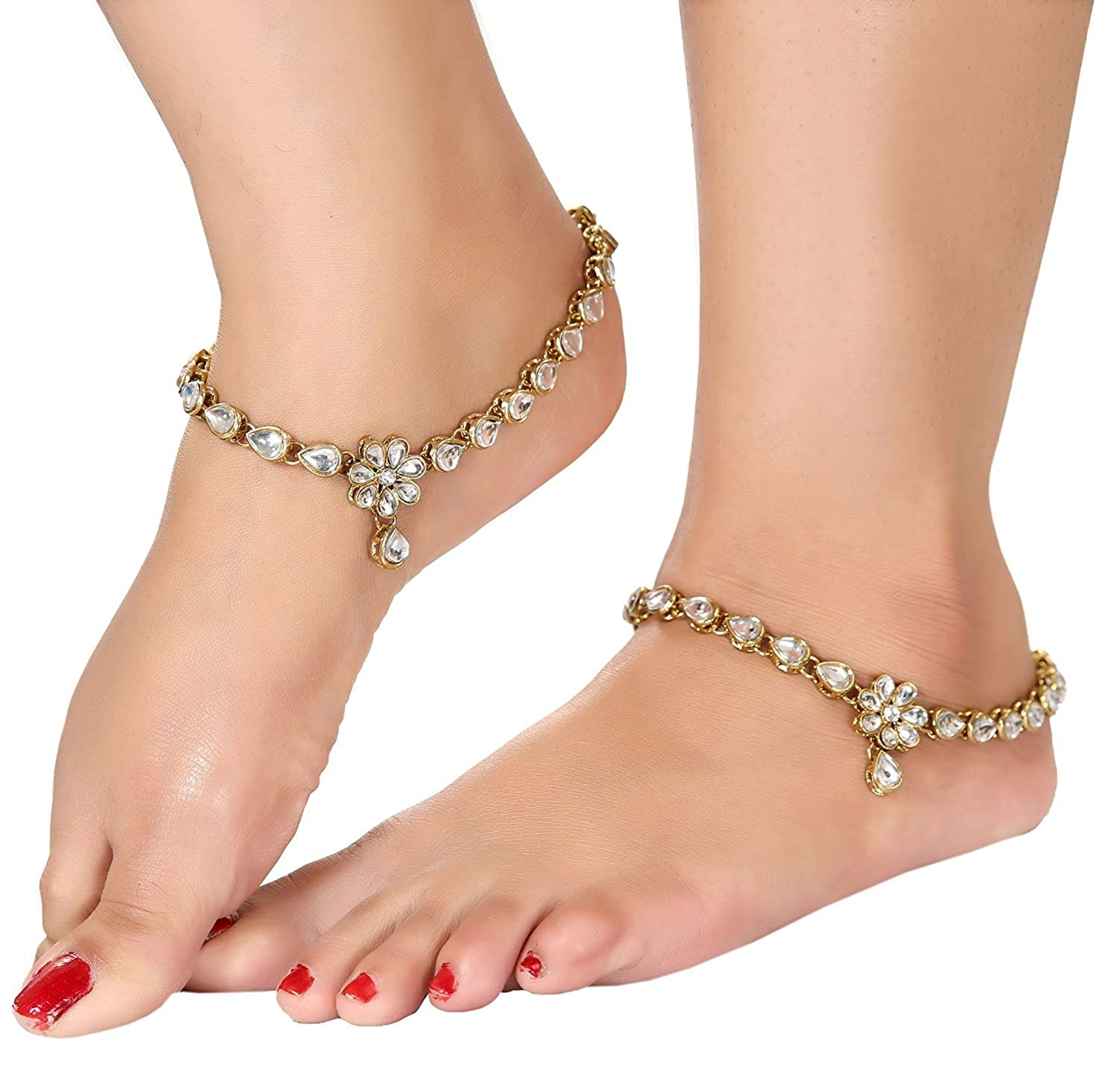 at anklet prices plated store il for india payal kundan girls women gold low anklets traditional dp diva in buy shining jewellery amazon online