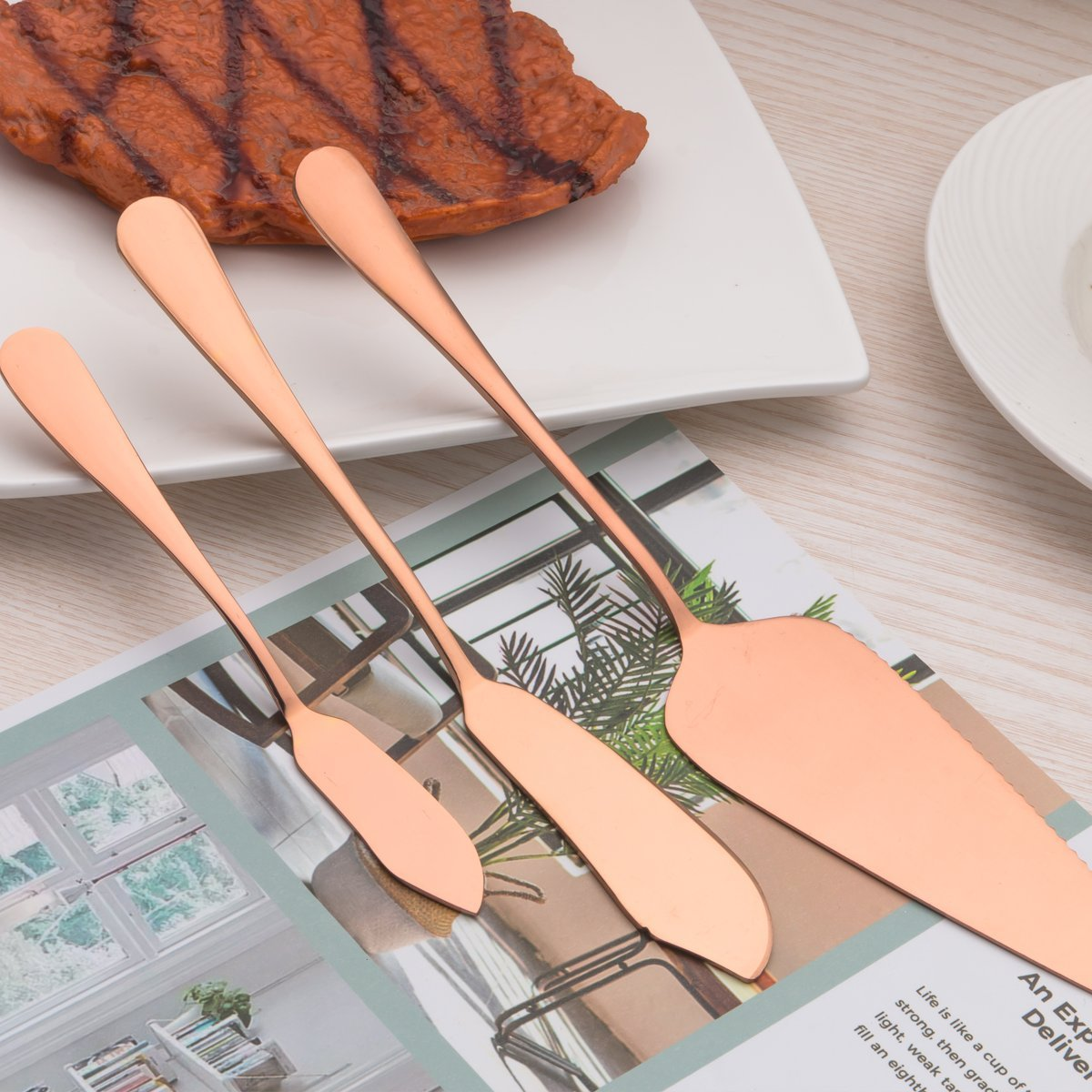 Copper Color Silverware Set Berglander Cutlery Set 24 Piece Stainless Steel with Titanium Rose Gold Plated Parties Cutlery Set Service for 6 Luxury for Wedding