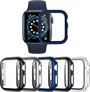 VASG 5-Pack Tempered Glass Screen Protector Case Compatible with Apple Watch Series 6 / SE/Series 5 / Series 4 44mm, Touch-Sensitive Ultra-Thin Hard PC Full Cover Bumper Compatible with iWatch 44mm