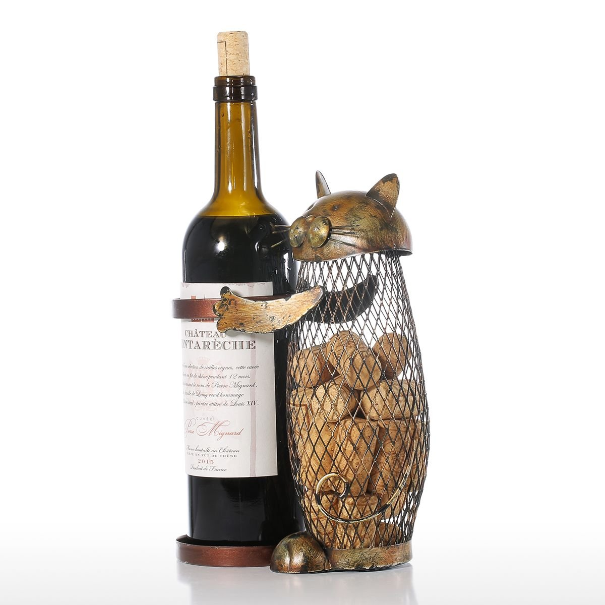 Tooarts Cat Wine Holder Cork Metal Wine Barrel Cork Storage Cage Table Cork Container Ornament by Tooarts (Image #4)