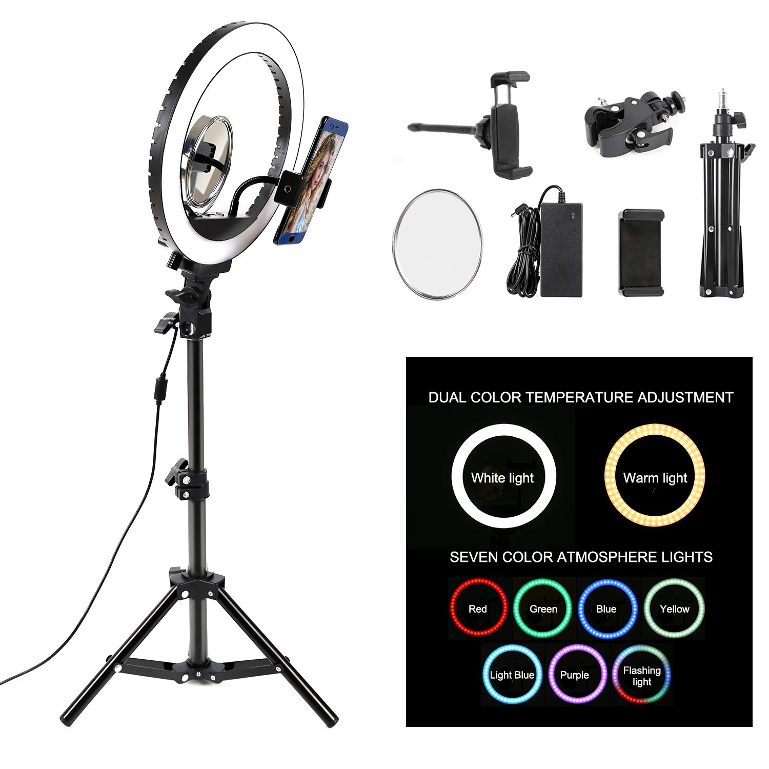 LTRINGYS LED Ring Light Kit 10''with Tripod Stand and Cell Phone Holder RGB Dimmable LED Ring Light,Desktop Selfie Ring Light for Shooting,Vlog, Makeup, YouTube, Camera/Phone Video 3200K-5500K by LTRINGYS