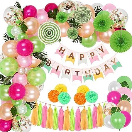 SPECOOL Decoración de cumpleaños, Happy Birthday Guirnalda, Globos Multicolores Bosque Tema Feliz Cumpleaños Decoración, Decoración de la Selva, ...