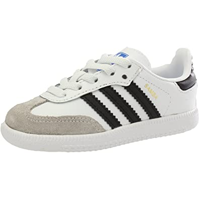 adidas Originals Samba OG EL I White/Black Leather 10 M US Infant