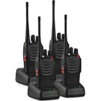 AUTOUTLET 4PCS Baofeng BF-888S Two Way Radio Walkie Talkies Rechargeable UHF400-470MHZ 16CH Long Range with USB Charger & Belt Clip & Earpiece for Security Guard, Supermarket, Field Survival