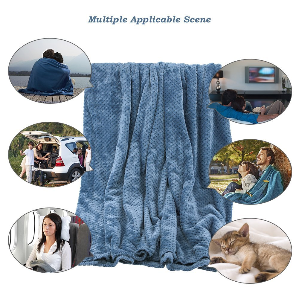 Topwon Fluffy Blanket Plush Fleece Soft Warm Lightweight Bed or Couch Blanket,Travel,Outdoor 70 x 78 Inch