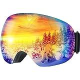TOPELEK Masque Ski Lunettes Ski Snowboard Hommes et Femmes--Anti-UV400, Anti-Buée, Coupe-Vent, Grande Lentille OTG Détachable[18 Mois Garantie]