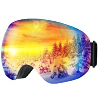 [Anti-Fog & OTG Design ] Ski Goggles,TOPELEK Snowboard Skate Goggles Snowmobile Ski Snow Glasses with 100% UV400 Protection,Super-wide Angle and Spherical Dual-layer Lens,Bendable Frame,Anti-slip Strap for Men and Women