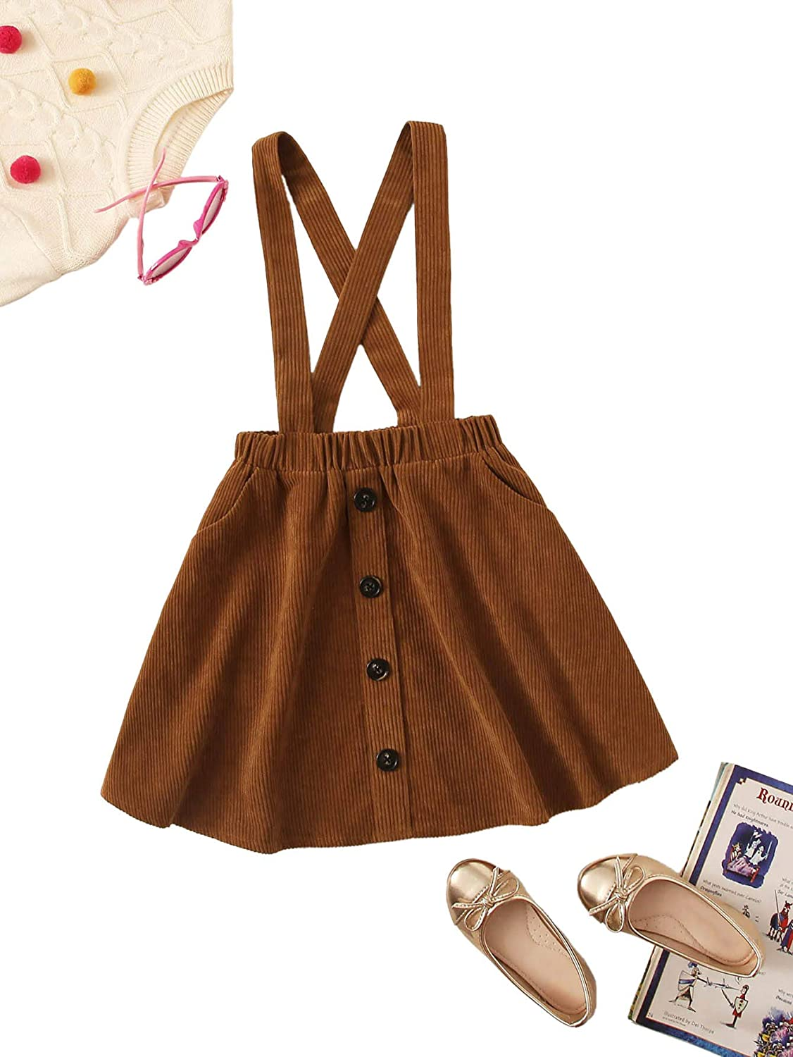 Romwe Girl's Cute Corduroy Button Front Criss Cross Back Elastic Waist Solid Overall Jumper Dress: Clothing