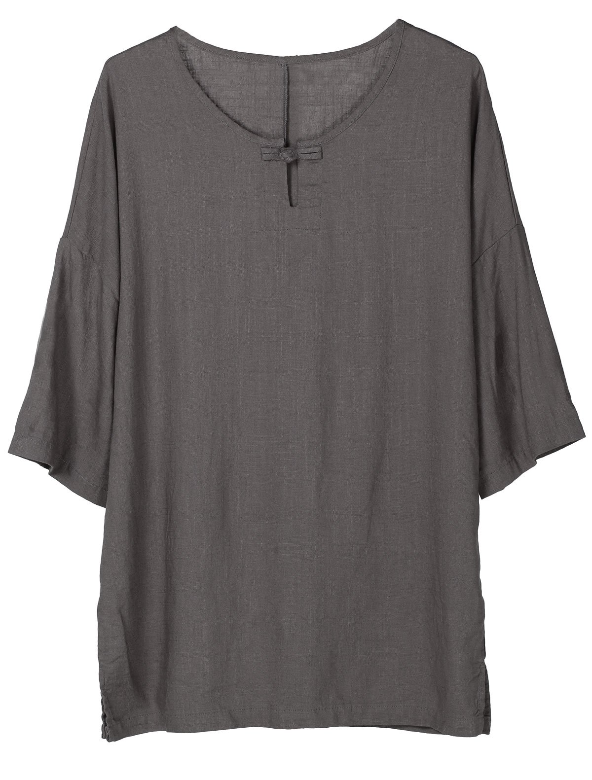Minibee Women's Elbow Sleeve Linen Tunic Tops Solid Color Retro Blouse Gray L