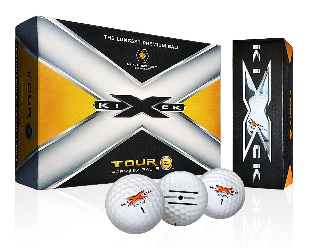Kick-X Tour-Z Premium Golf Balls (12 Pack) w/ Alignment Putting Lines
