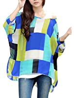 Allegra K Ladies Round Neck Batwing Sleeve Style Semi Sheer Pullover Blouse
