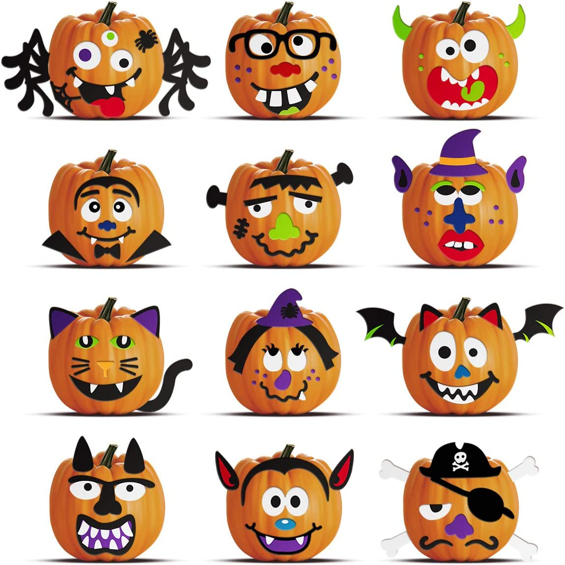 Halloween Pumpkin Decorating Kit Stickers, Halloween Crafts for Kids Halloween Trick or Treats Party Favors Supplies