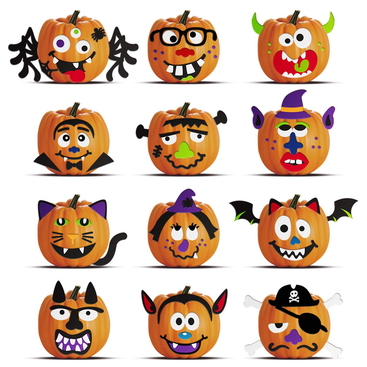 Unomor Halloween Pumpkin Decorating Craft Kit Stickers - Makes 24 Pumpkins (12 Designs with 2 Sizes & 30 Wood Sticks) Halloween Party Supplies Trick or Treat Party Favors by Unomor